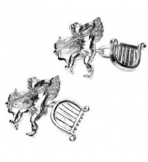 Silver Plated Cupid and Harp Cufflinks