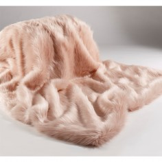 Soft Pink Faux Fur Large Throw